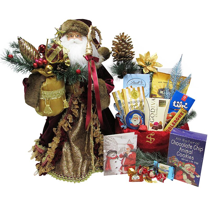 Silvery White Santa and His Goody Bag - Christmas Gift Package