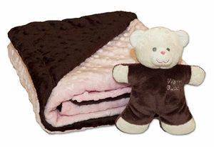 Pink blanket with bear
