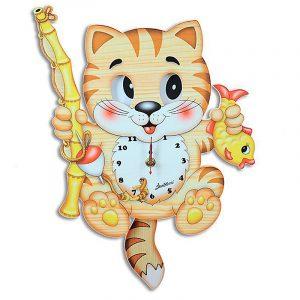 Fisherman Cat Moving Eyes Clock