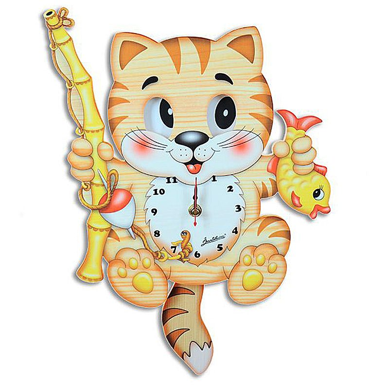Fisherman Cat Moving Eyes Clock
