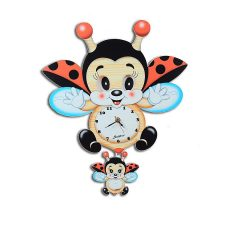 Flying Ladybug Moving Eyes Clock And Santa's Chocolate Gifts