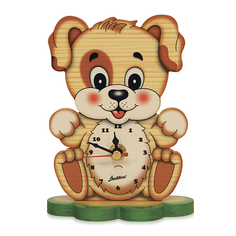 Cute Puppy Table Clock And Santa's Village Scene